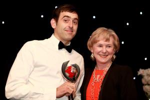 O'Sullivan receives his award from BBC Sport chief Barbara Slater
