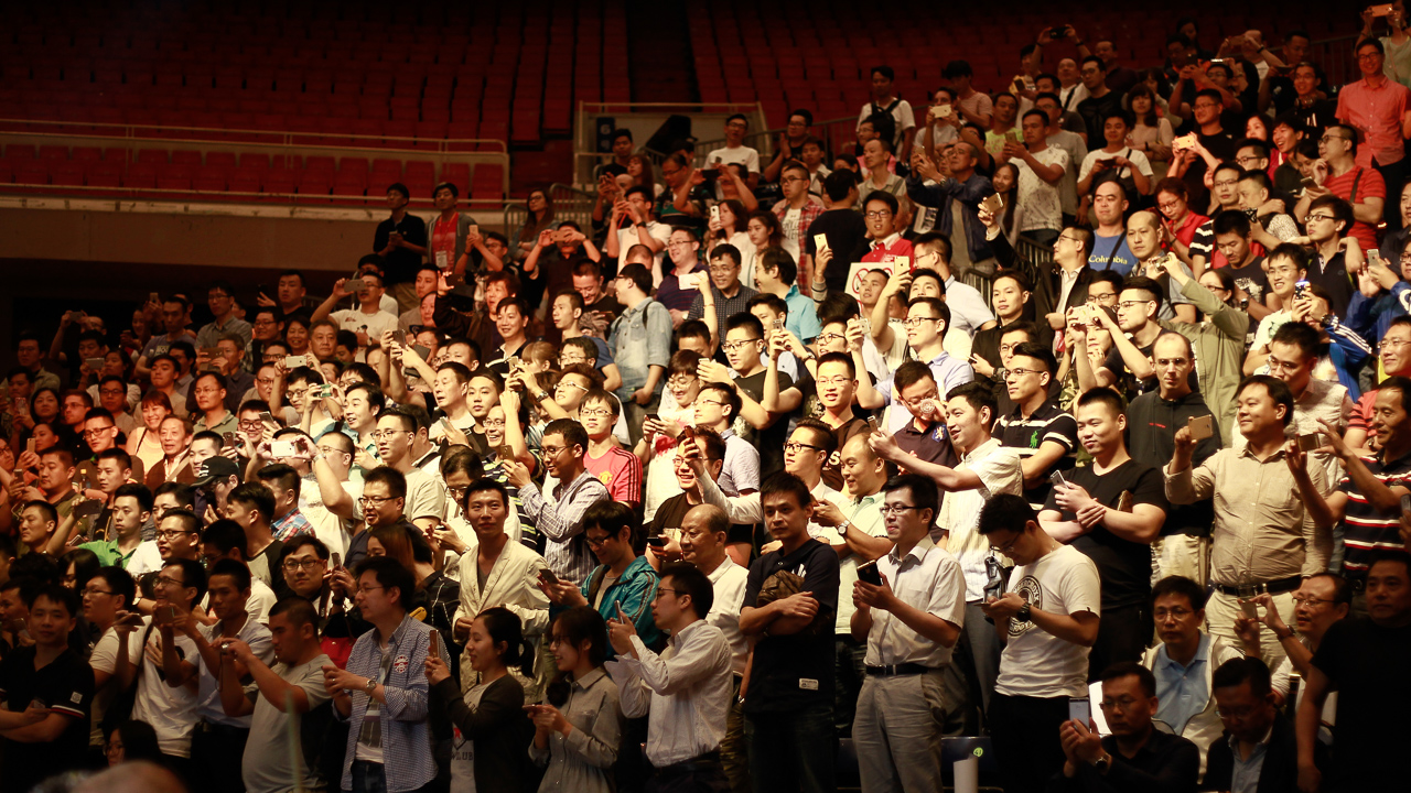 A packed crowd at the Grand Stage saw Ding lift the trophy